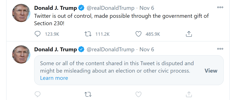تغريدة لترمب حجبها تويتر ويليها تغريدة ينتقد بها الرئيس التطبيق