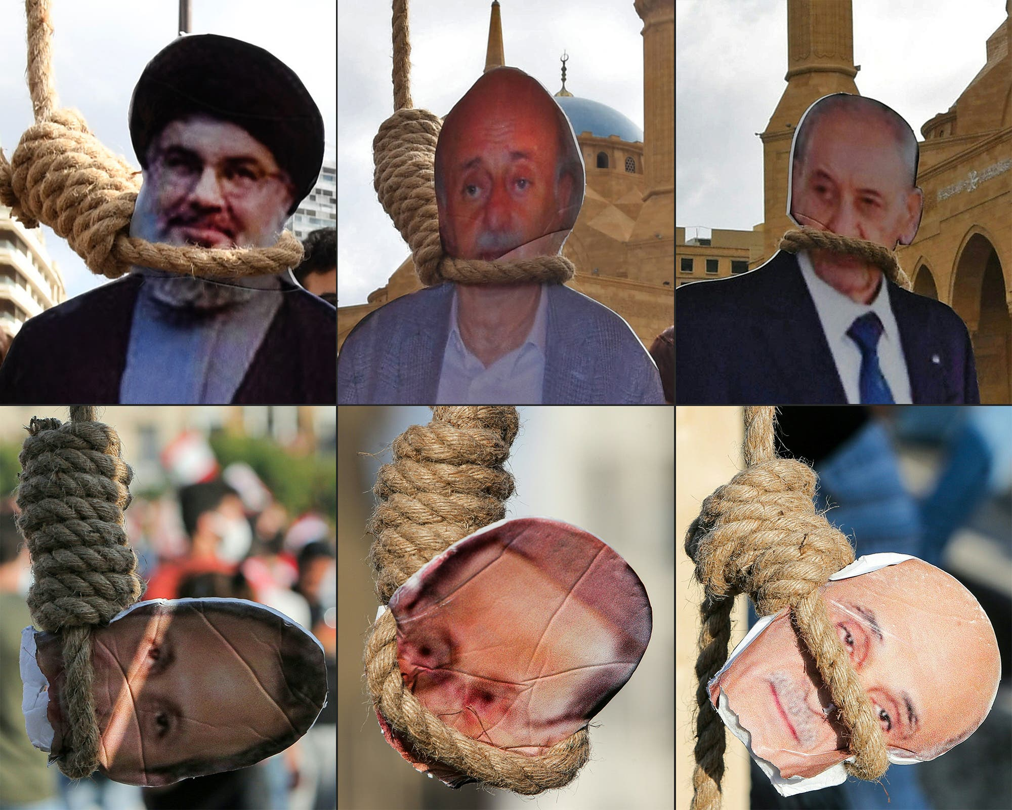 صور لسياسيين لبنانيين على حبال المشانق ومن بينهم باسيل رفعت من قبل متظاهرين (أرشيفية- فرانس برس)