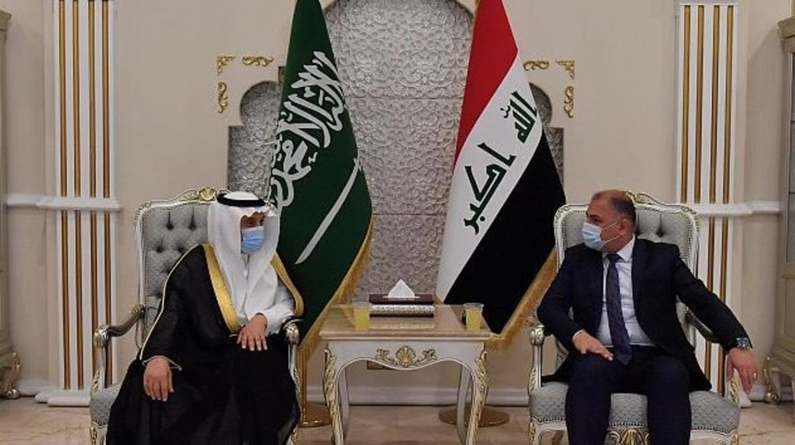 A photo released by Saudi Press Agency of the Saudi delegation visit to Iraq. (Twitter @SPAregions)