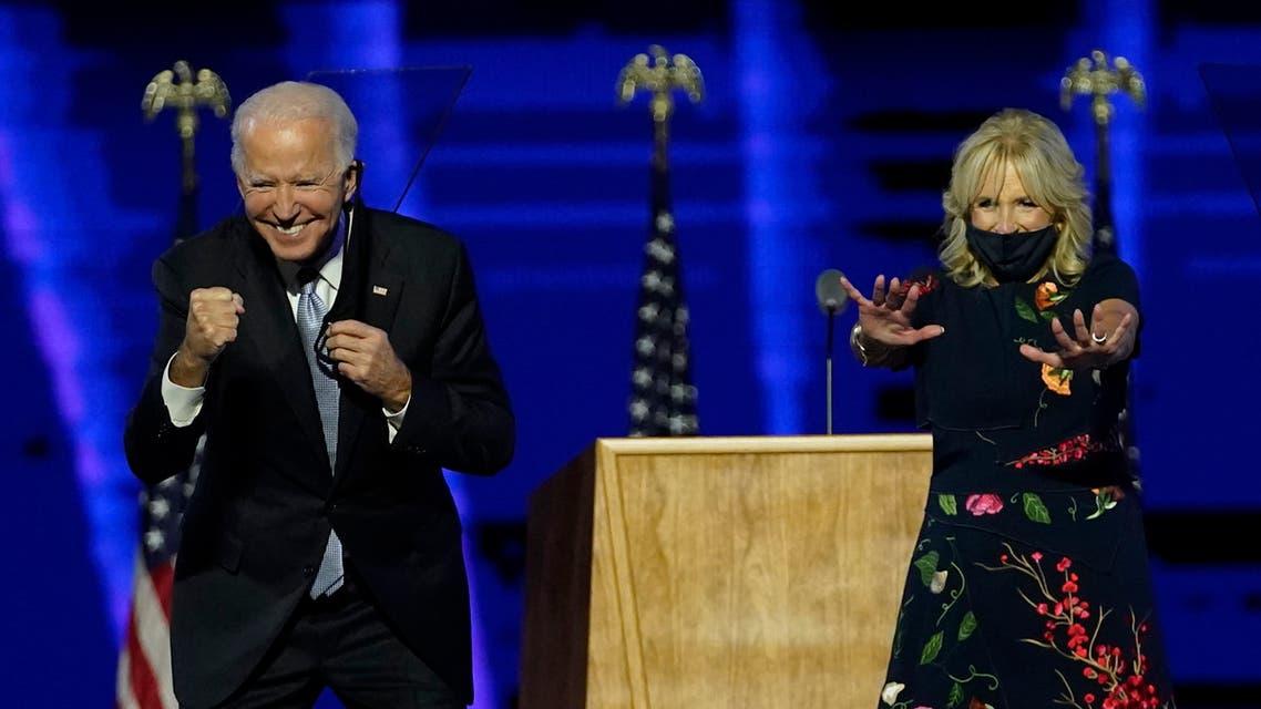 الرئيس الأميركي المنتخب جو بايدن وزوجته جيل (أسوشييتد برس)