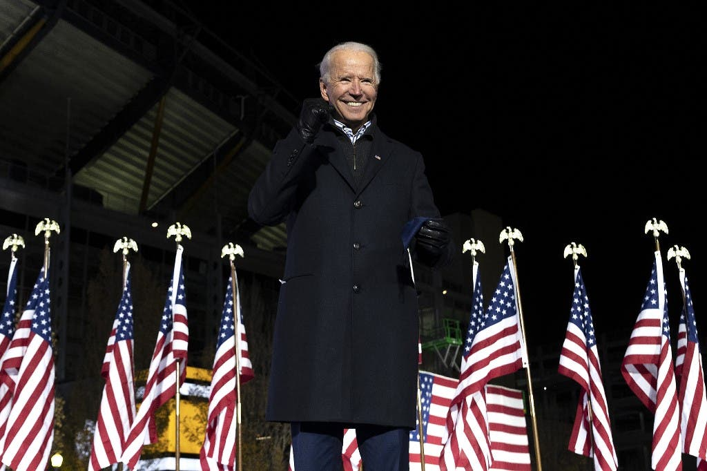 Incoming US President Joe Biden gestures after speaking during a Drive-In Rally at Heinz Field in Pittsburgh, Pennsylvania on Nov 2, 2020. (AFP)