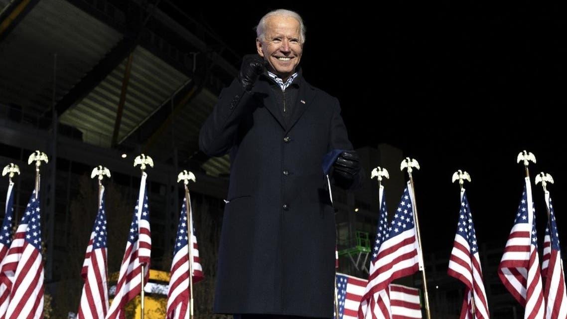Incoming US President Joe Biden gestures after speaking during a Drive-In Rally at Heinz Field in Pittsburgh, Pennsylvania on Nov 2, 2020. (AFP)