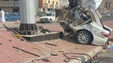 مکہ معظمہ میں المناک حادثہ، کار دوحصوں میں تقسیم، ڈرائیور زخمی