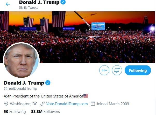 صفحة دونالد ترمب على تويتر