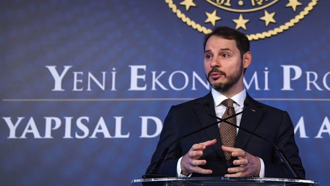 Turkish Treasury and Finance Minister Berat Albayrak addresses a press conference to announce his new economic policy and reforms in Istanbul on April 10, 2019. (Ozan Kose/AFP)