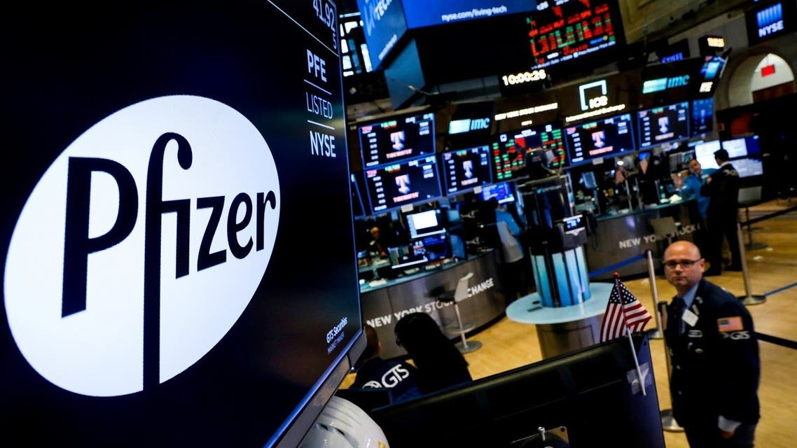 A logo for Pfizer is displayed on a monitor on the floor at the New York Stock Exchange in New York, US. (File photo: Reuters)