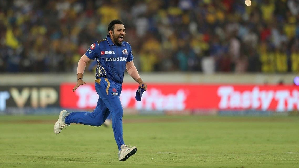 Mumbai Indians captain Rohit Sharma runs to celebrate their win in the VIVO IPL T20 cricket final match between Mumbai Indians and Chennai Super Kings in Hyderabad, India. (File photo:AP)