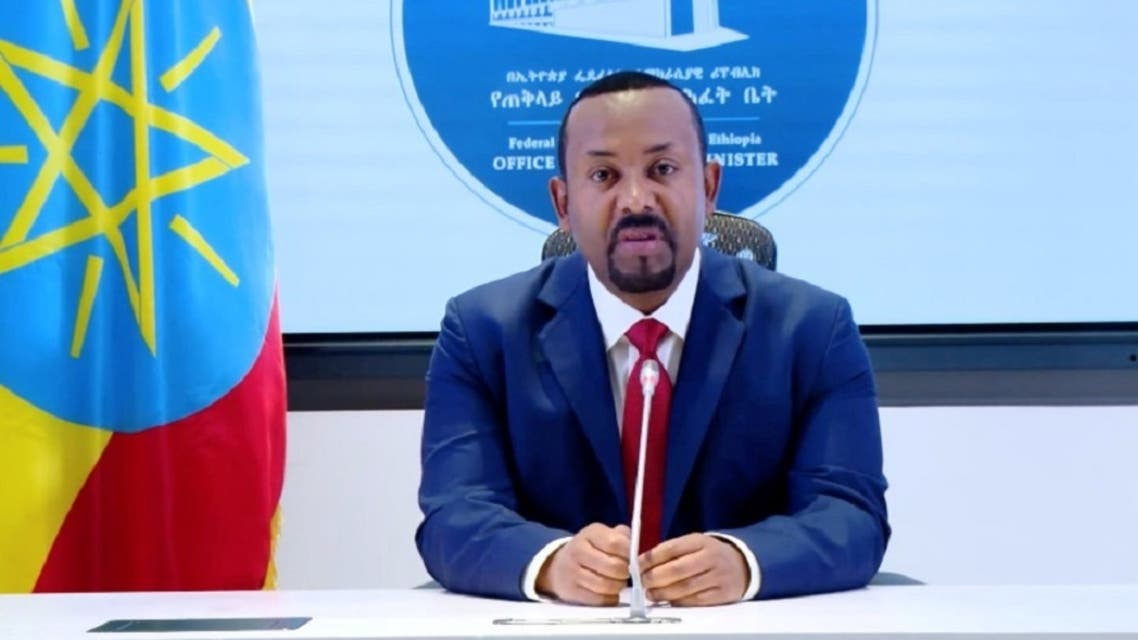 Ethiopia's Prime Minister Abiy Ahmed makes a statement on his official Facebook page, in Addis Ababa, Ethiopia, November 8, 2020, in this still image taken from a social media video. (Reuters)