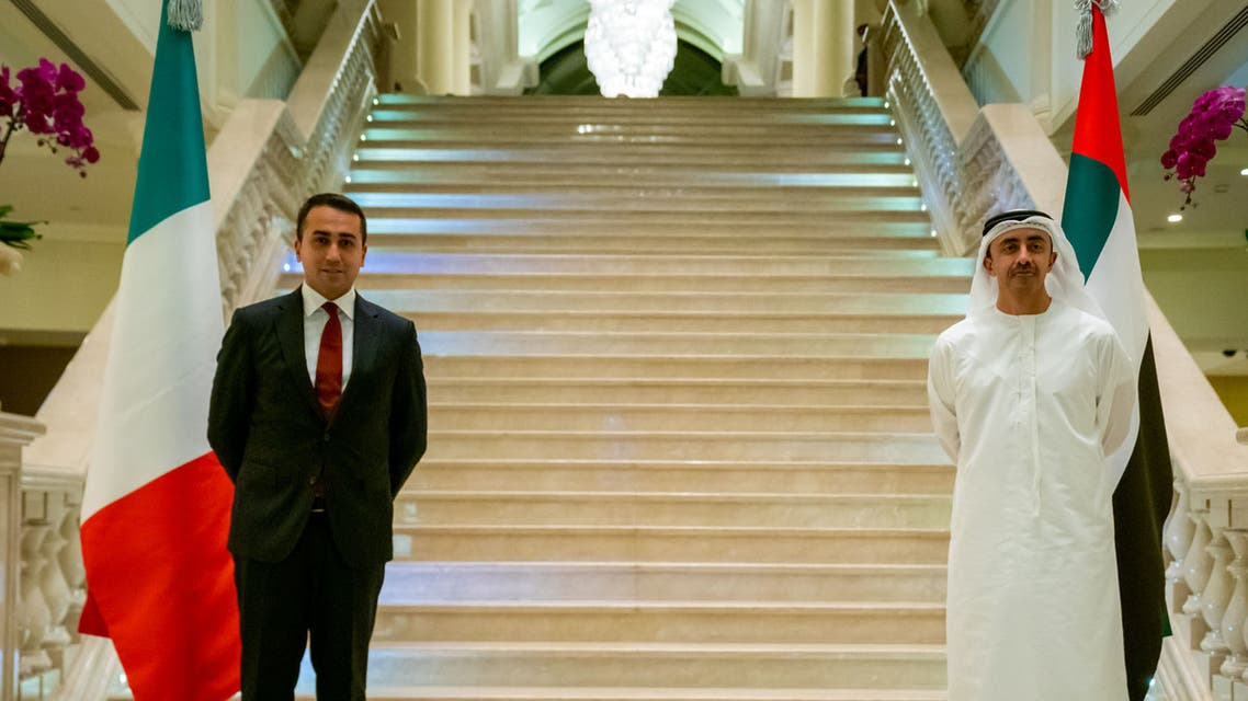 Italian foreign minister Luigi Di Maio, left, and UAE foreign minister Sheikh Abdullah bin Zayed Al Nahyan, right. (WAM)