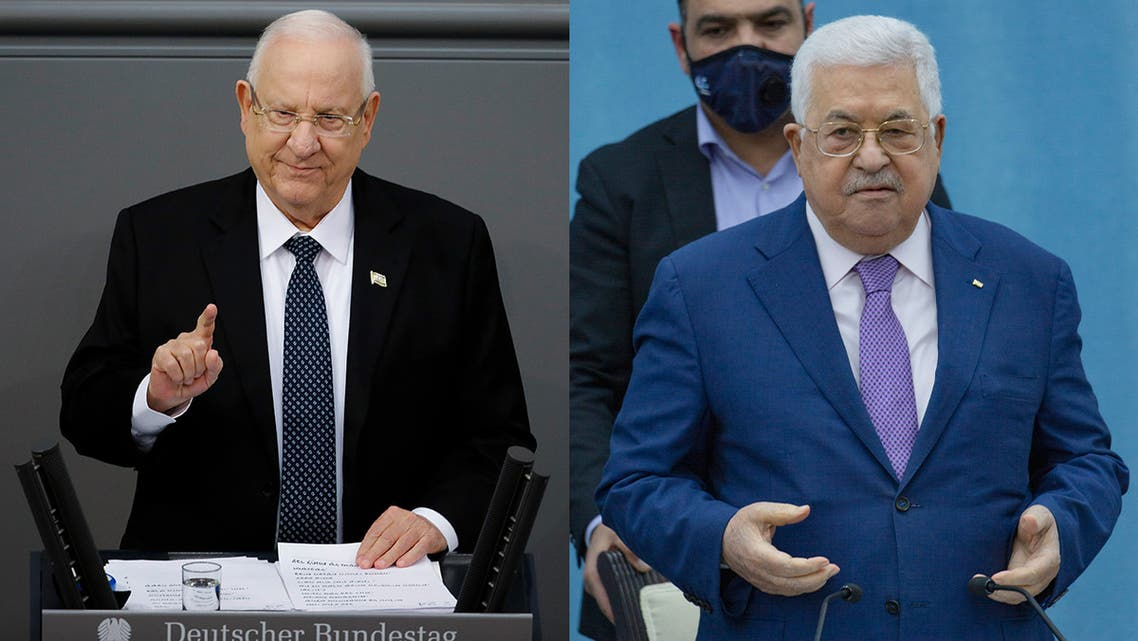 Israeli President Reuven Rivlin, left, and Palestinian President Mahmoud Abbas, right. (AP)