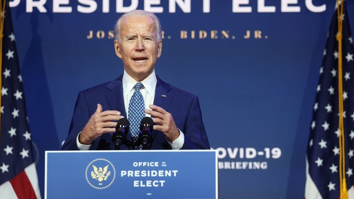 """US President-elect Joe Biden speaks about the coronavirus after meeting with members of his """"Transition COVID-19 Advisory Board"""" in Delaware, Nov. 9, 2020. (Reuters)"""