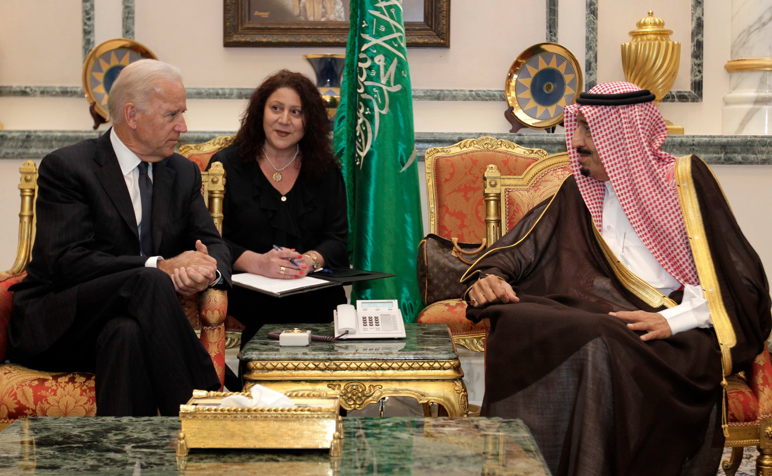 Then- US Vice President Joe Biden, right, offers his condolences to then-Prince Salman bin Abdulaziz upon the death of on his brother Saudi Crown Prince Sultan bin AbdulAziz Al Saud on Oct. 27, 2011. (File photo: AP)