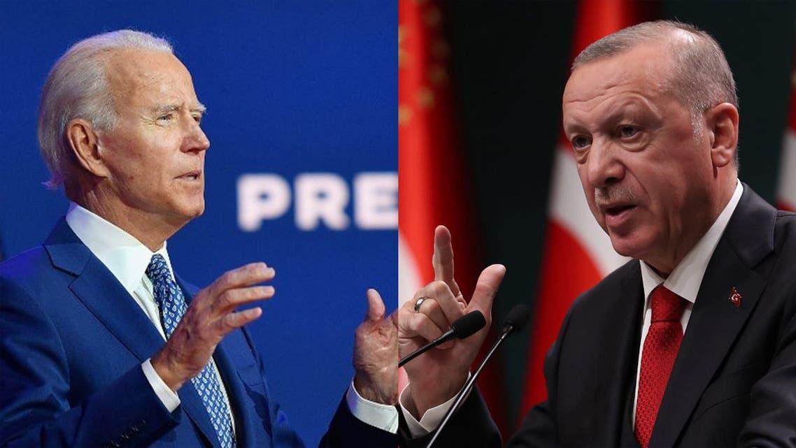 US President-elect Joe Biden, left, and Turkish President Recep Tayyip Erdogan. (AFP)