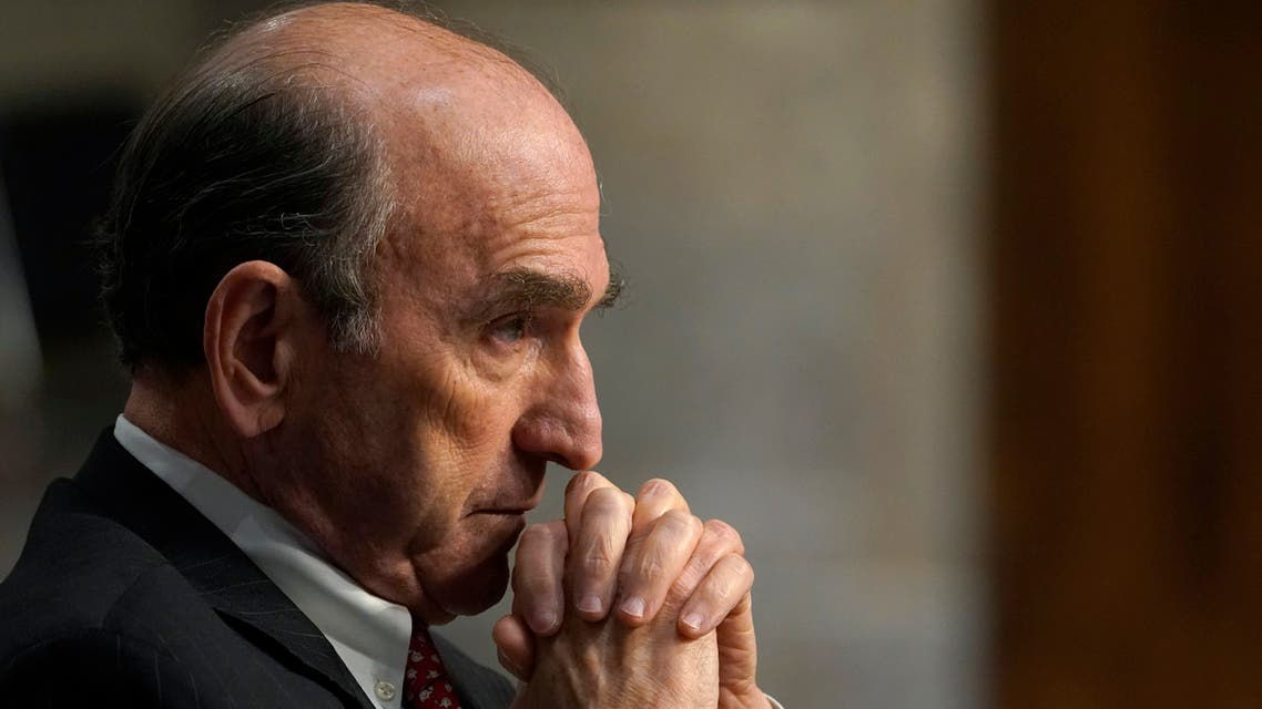 U.S. special envoy for Iran and Venezuela Elliott Abrams testifies before the Senate Foreign Relations Committee on Capitol Hill in Washington, Thursday, Sept. 24, 2020, during a hearing on U.S. policy in a changing Middle East. (AP Photo/Susan Walsh, Pool)