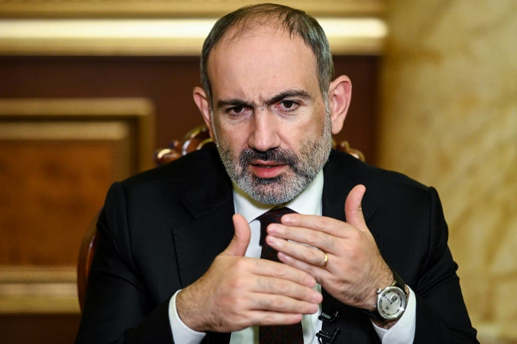 Armenian Prime Minister Nikol Pashinyan gives an interview to AFP in Yerevan. (AFP)
