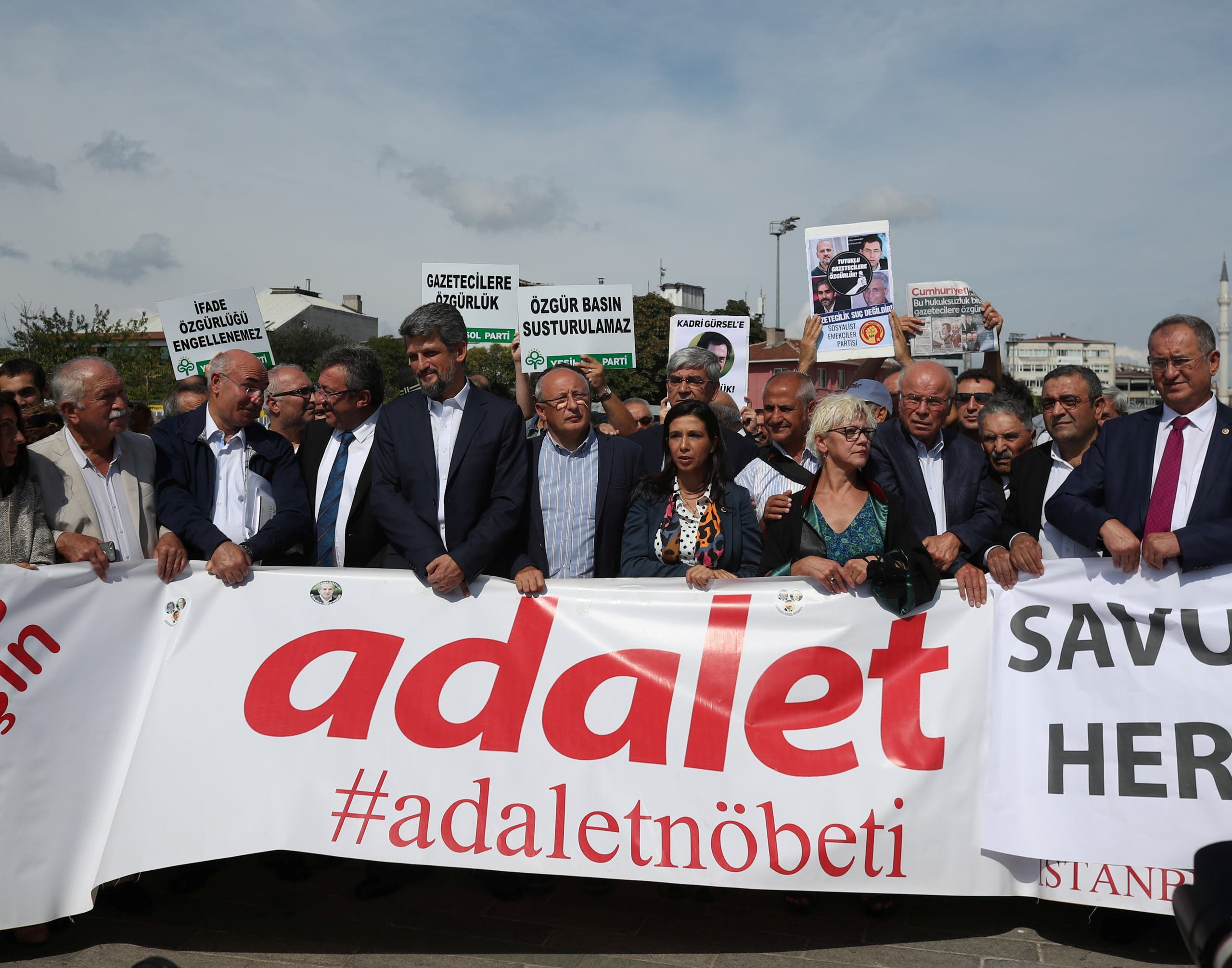 مظاهرة خارج محكمة في اسطنبول في سبتمبر 2017 للمطالبة بالافراج عن الصحفيين