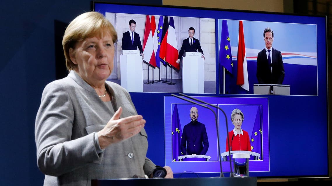 German Chancellor Angela Merkel attends a virtual news conference with French president Emmanuel Macron, on the screen, Austrian Chancellor Sebastian Kurz, Netherlands Prime Minister Mark Rutte, European Commission President Ursula von der Leyen and European Council President Charles Michel, at the chancellery in Berlin, Germany November 10, 2020. Markus Schreiber/Pool via REUTERS