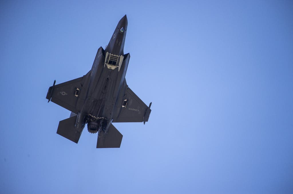 An F-35 fighter plane flies over the White House on June 12, 2019, in Washington DC. (AFP)