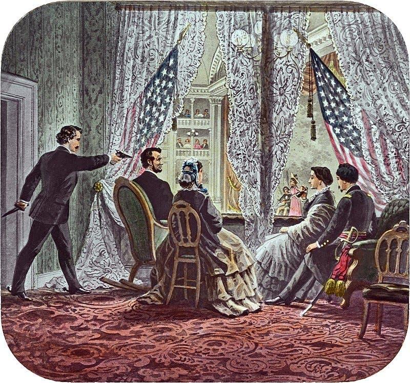 رسم تخيلي لحادثة اغتيال الرئيس لنكولن