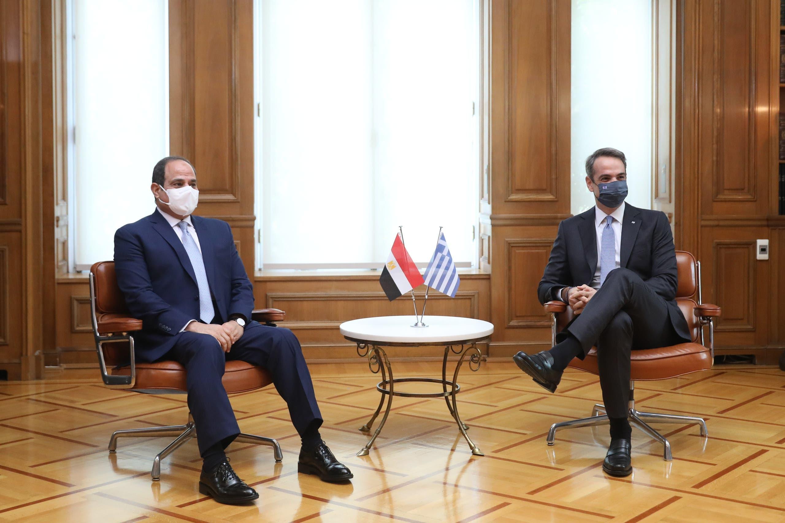 جانب من لقاء رئيس وزراء اليونان والرئيس السيسي