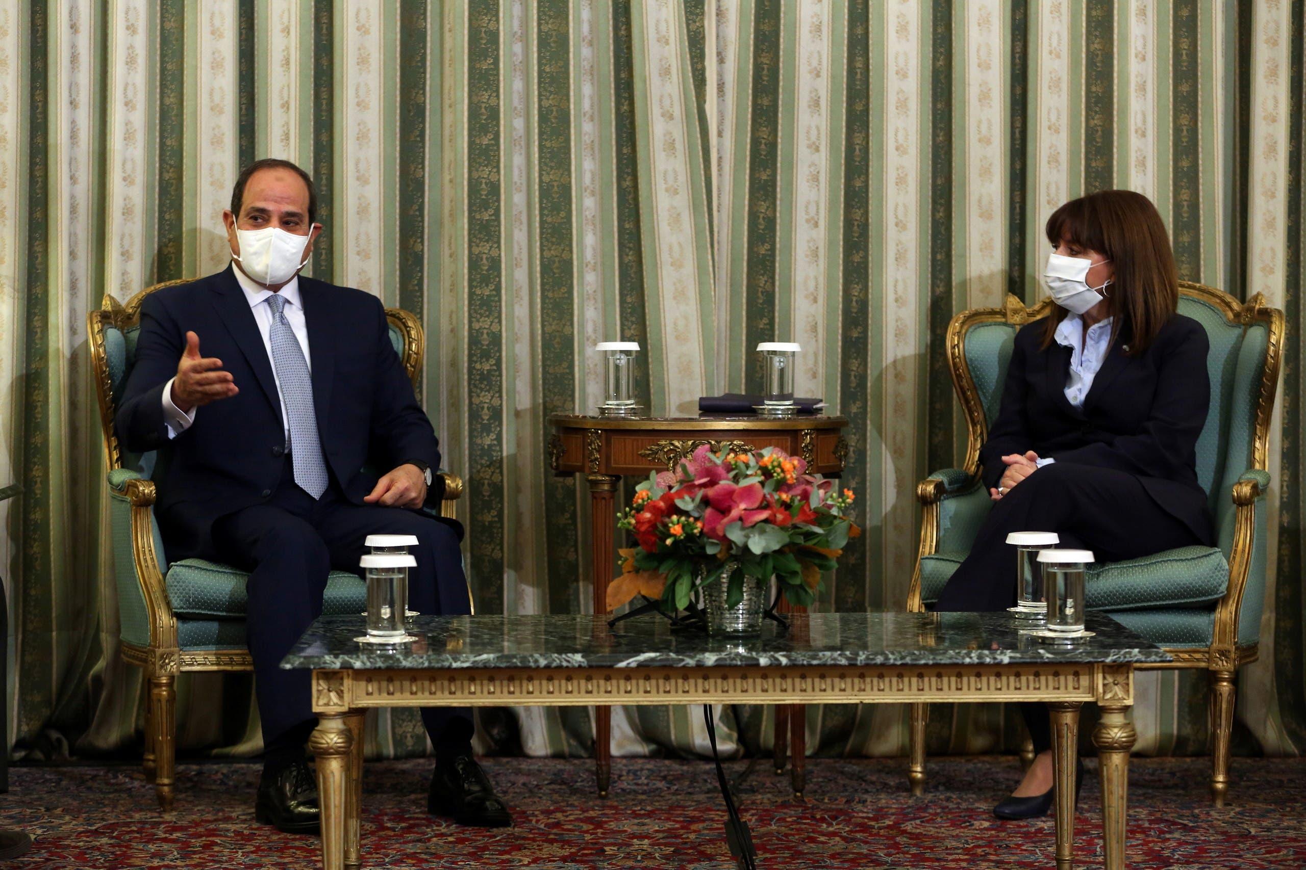 جانب من لقاء السيسي ورئيسة اليونان