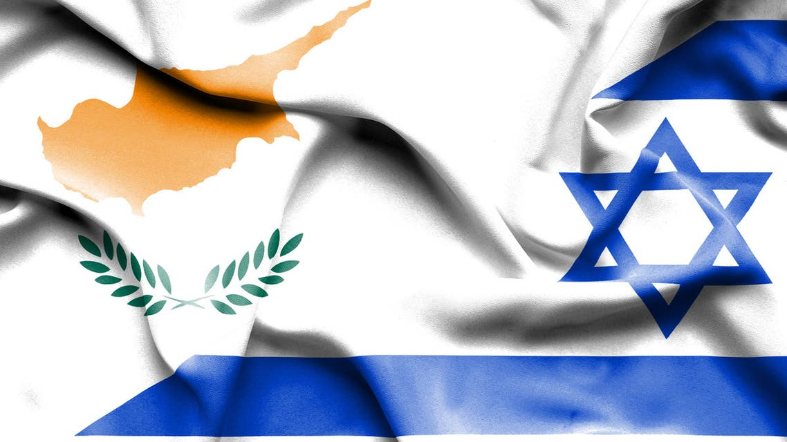 Waving flag of Israel and Cyprus stock illustration