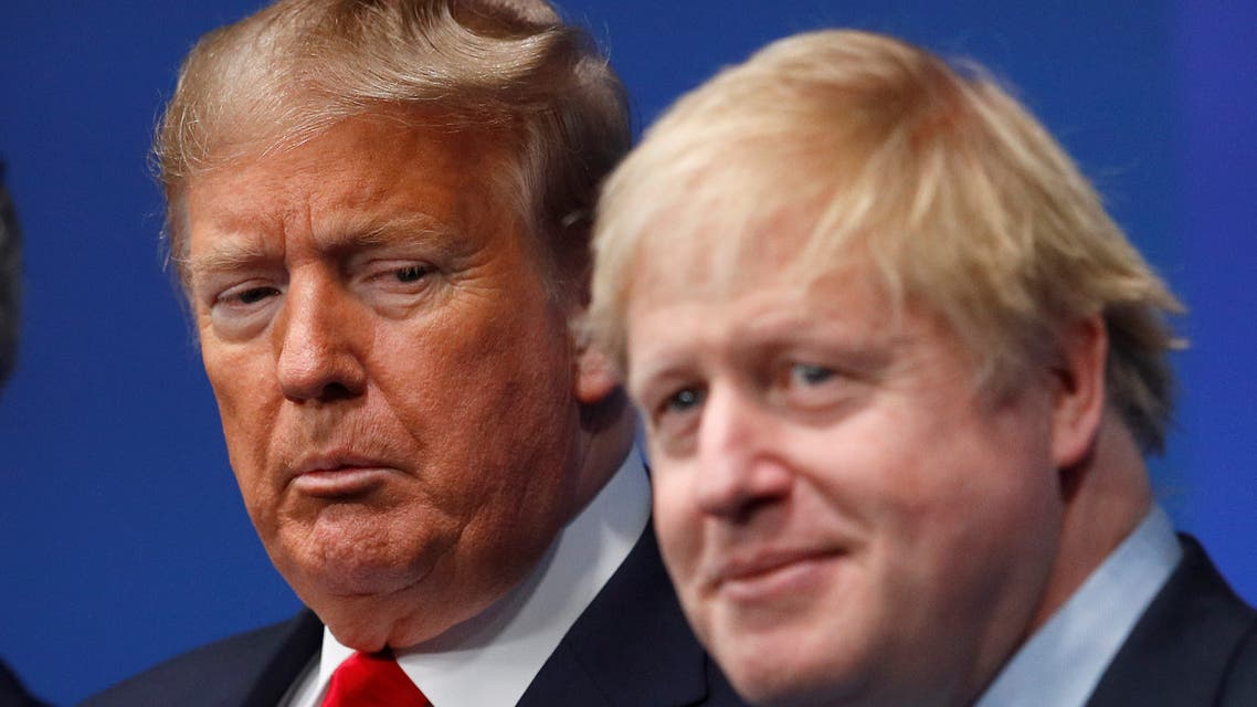 Britain's Prime Minister Boris Johnson and U.S. President Donald Trump attend at the NATO leaders summit in Watford, Britain December 4, 2019. REUTERS/Peter Nicholls/Pool