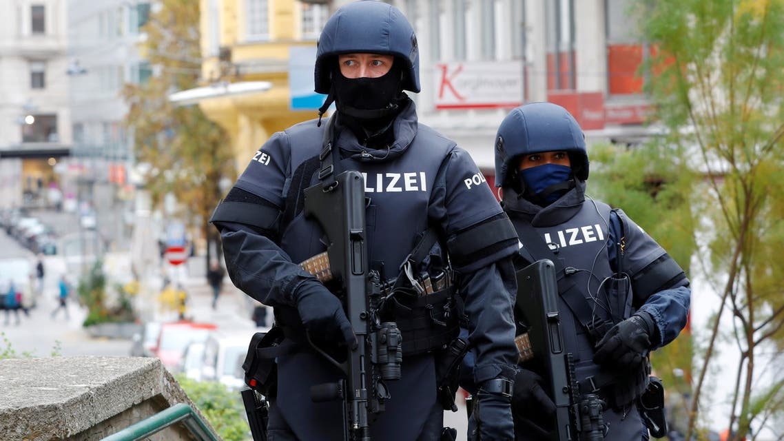 FILE PHOTO: Armed police officers patrol near the site of a gun attack in Vienna, Austria, November 4, 2020. REUTERS/Leonhard Foeger/File Photo