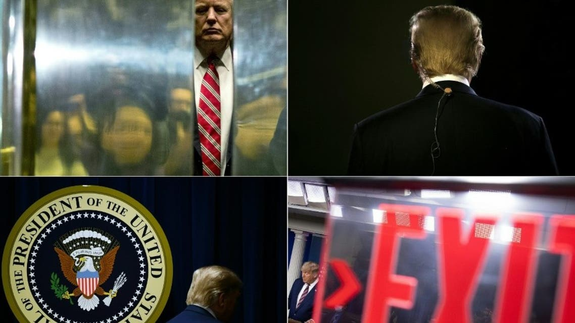 This is combination of pictures created on November 06, 2020 of US President Donald Trump. (AFP)