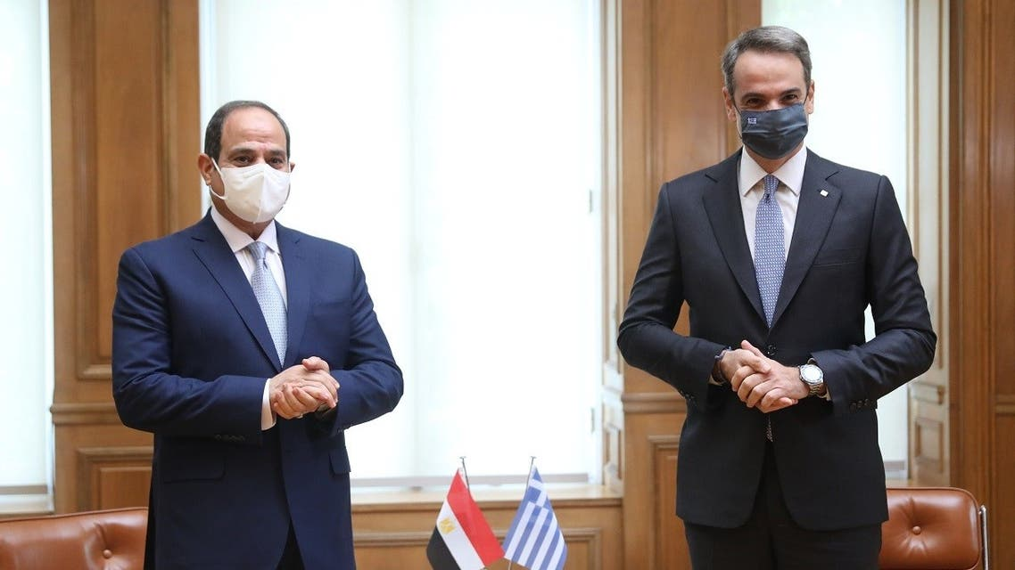 Greek Prime Minister Kyriakos Mitsotakis (R) and Egyptian President Abdel Fattah al-Sisi hold a joint press conference at the Maximos Mansion in Athens, on November 11, 2020. (Costas Baltas/AFP)