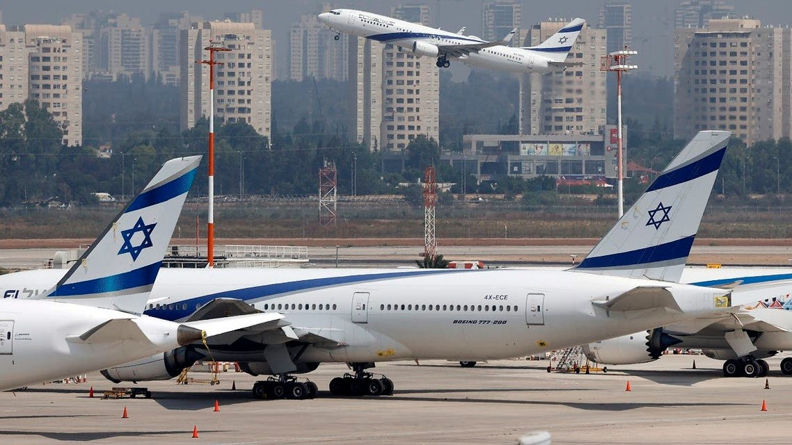 A picture taken on August 31, 2020, shows the El Al's airliner, which carried a US-Israeli delegation to the UAE following a normalization accord, lifting off from the tarmac in the first-ever commercial flight from Israel to the UAE at the Ben Gurion Airport near Tel Aviv. (Jack Guez/AFP)