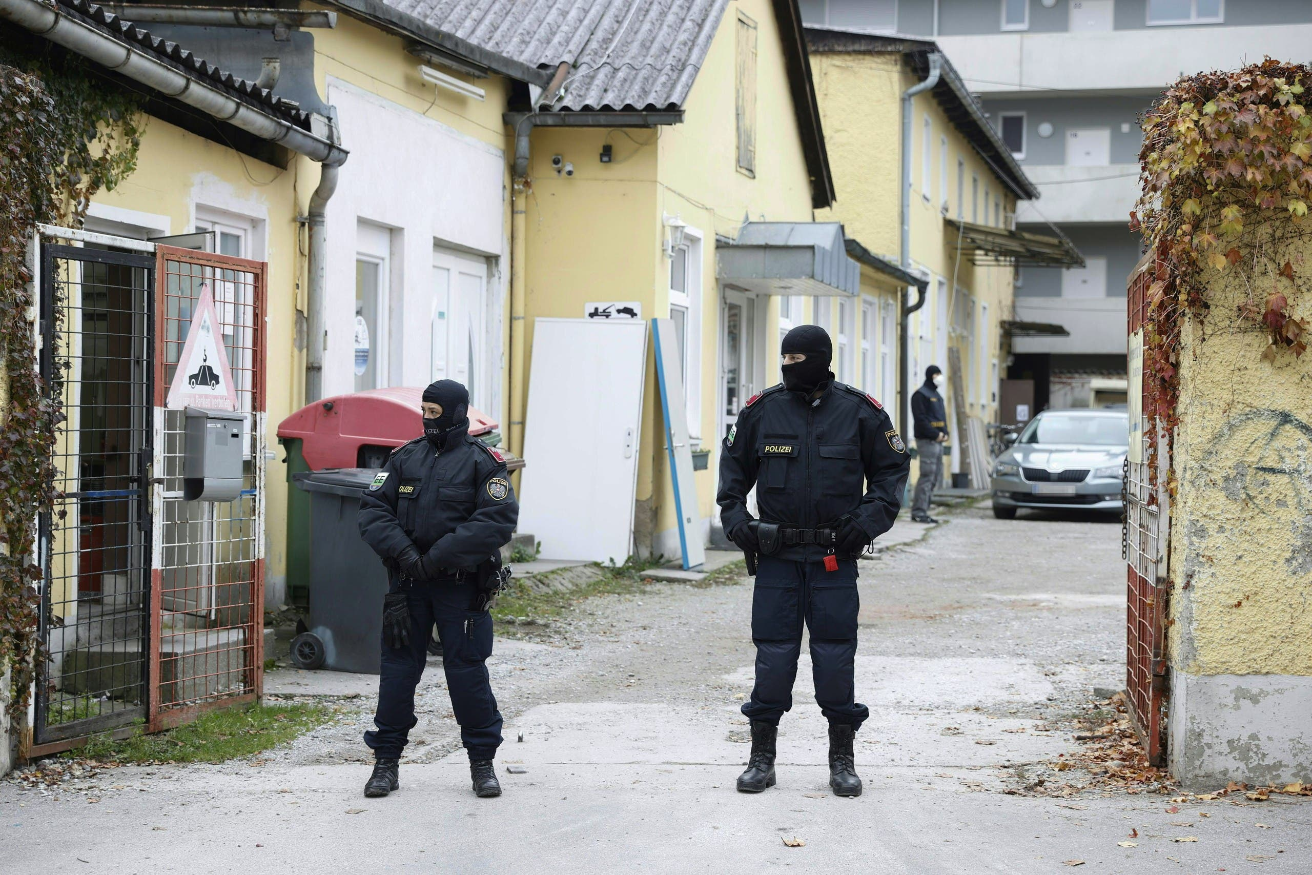 This photo taken on November 9, 2020 in Graz, Austria, shows the Liga Kulturverein, where a police raid, dubbed Operation Luxor, took place in the early morning. Austrian police launched raids on more than 60 addresses allegedly linked to radical Islamists in four different regions on November 9, with orders given for 30 suspects to be questioned, prosecutors said. The Styria region prosecutors' office said in a statement it was carrying out investigations against more than 70 suspects and against several associations which are suspected of belonging to and supporting the terrorist Muslim Brotherhood and Hamas organizations. (AFP)