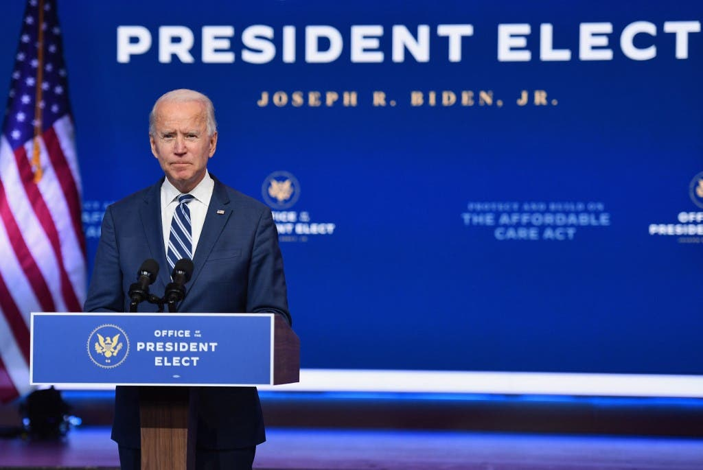US President-elect Joe Biden delivers remarks at The Queen in Wilmington, Delaware, on November 10, 2020. (AFP)
