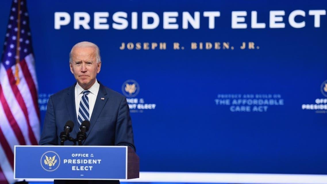 US President-elect Joe Biden delivers remarks at The Queen in Wilmington, Delaware, on November 10, 2020. (AFP)