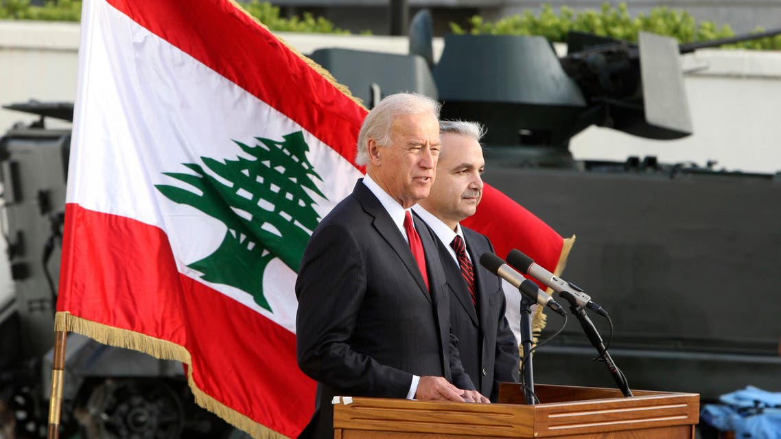 US Vice President Joe Biden (L) speaks during a joint news conference with Lebanon's Defence Minister Elias al-Murr during a ceremony reviewing US military weapons donated to the Lebanese army at Beirut international airport May 22, 2009. (Reuters)