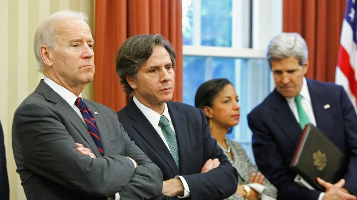 US VP Joe Biden, Deputy NSA Tony Blinken, NSA Susan Rice and Secretary of State John Kerry at the White House, Nov. 1, 2013. (Reuters)