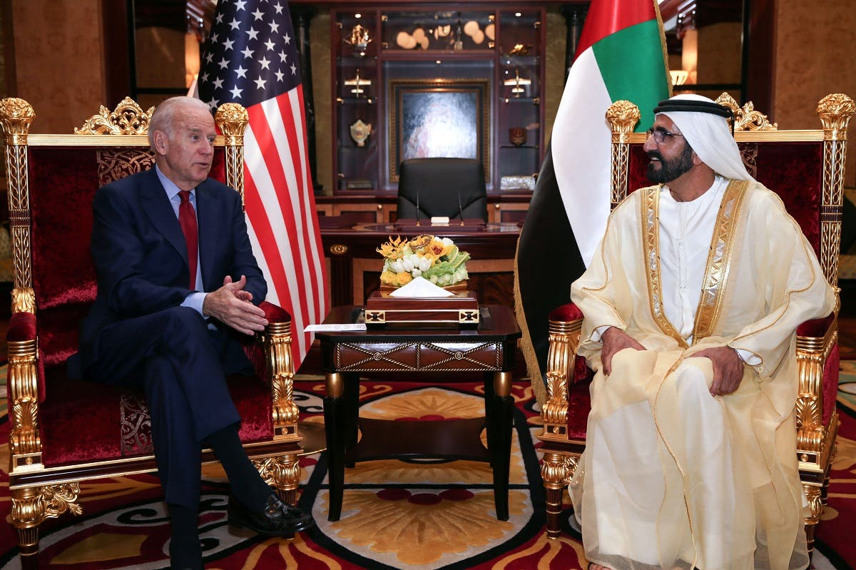 Dubai's ruler Sheikh Mohammed bin Rashid Al Maktoum meeting with US Vice President Joe Biden in Dubai, March 8, 2016. (AFP)