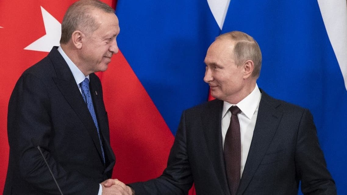 Russian President Vladimir Putin and his Turkish counterpart Recep Tayyip Erdogan at the Kremlin in Moscow on March 5, 2020. (AFP)