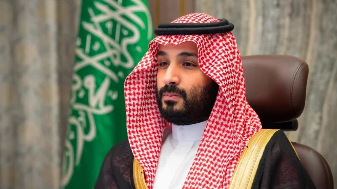 A handout picture provided by the Saudi Royal Palace on November 12, 2020, shows Saudi Crown Prince Mohammed bin Salman attending a video meeting with the Shura council in the capital Riyadh. (AFP)