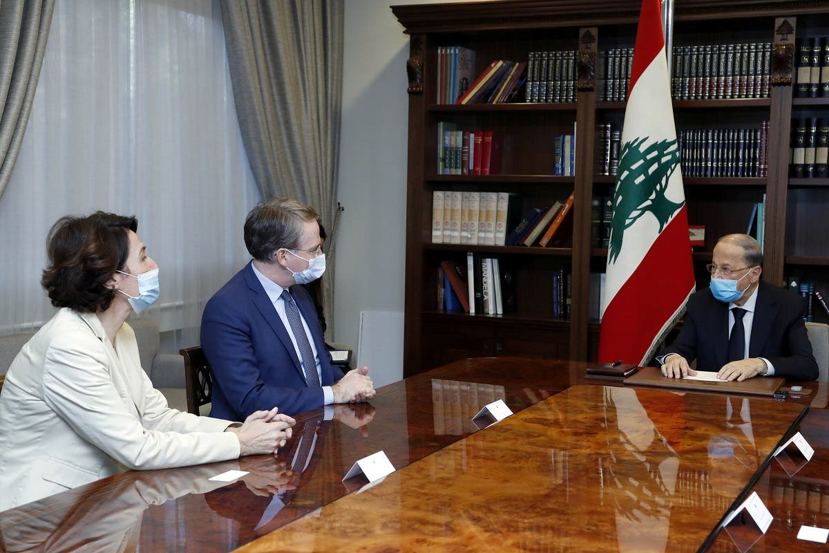 President Michel Aoun meets with Patrick Durel, President Emmanuel Macron's advisor for the Middle East and North Africa, at the presidential palace in Baabda, Lebanon, on November 12, 2020. (Reuters)