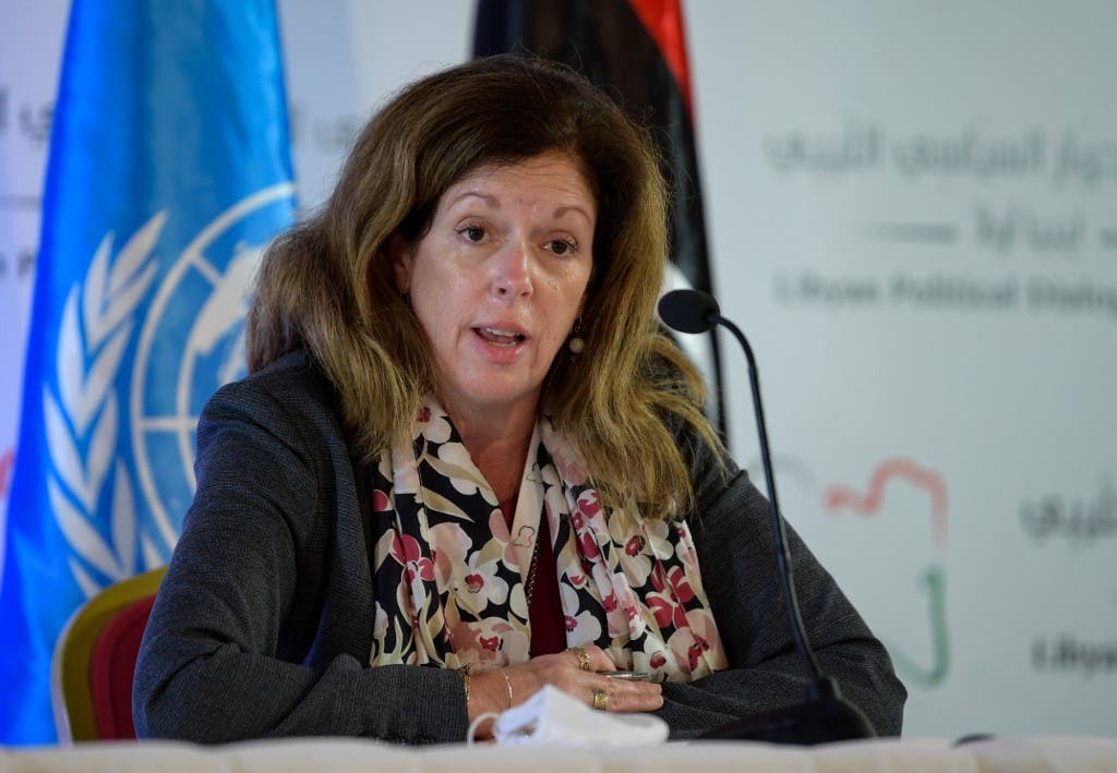 UN acting envoy to Libya Stephanie Williams speaks during a press conference in the Tunisian capital Tunis on November 11, 2020. (AFP)