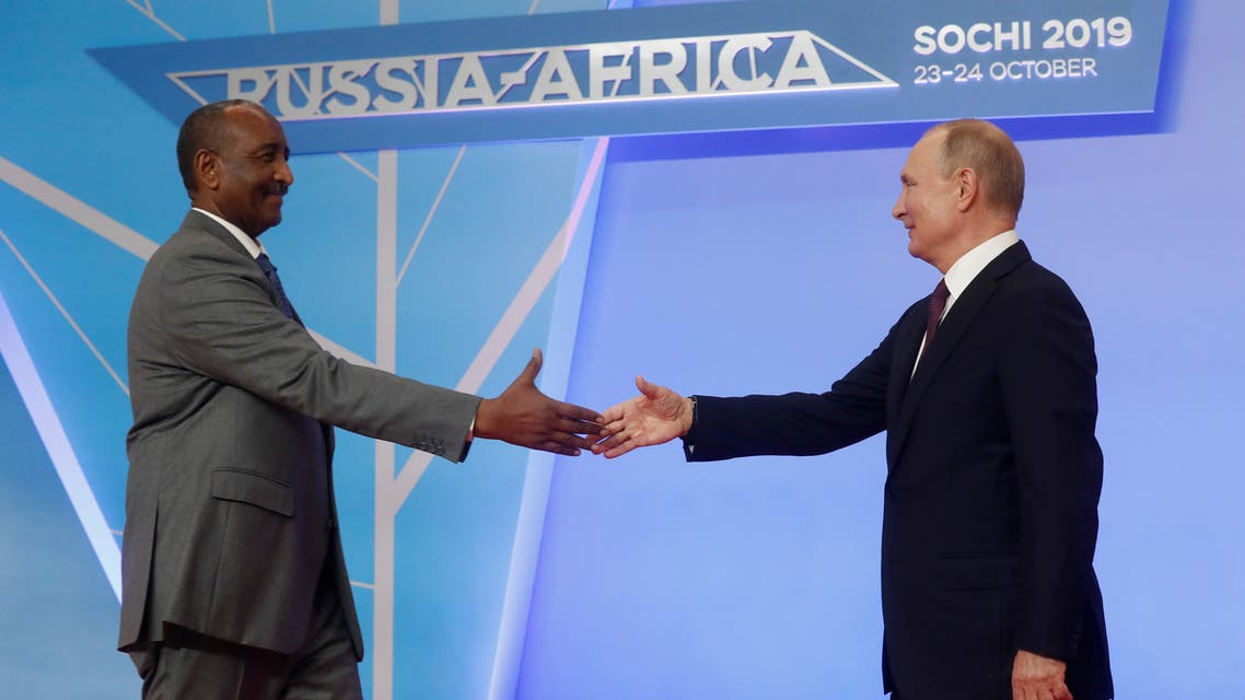 Russian President Vladimir Putin shakes hands with Chairman of the Sovereignty Council of Sudan Abdel Fattah al-Burhan in the Black sea resort of Sochi, Russia, October 23, 2019. (Reuters)
