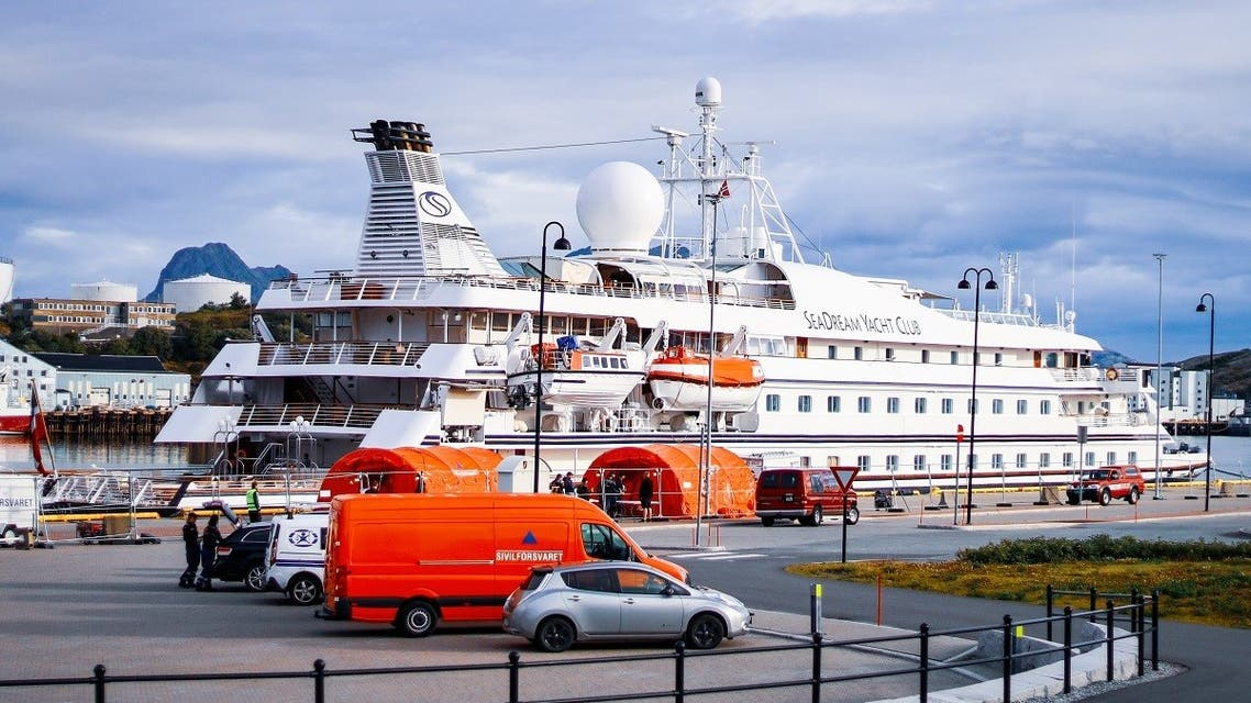 The Seadream 1 ship docks the quay in Bodo in Norway on August 5, 2020 on suspicion of a corona infection on board. (AFP)