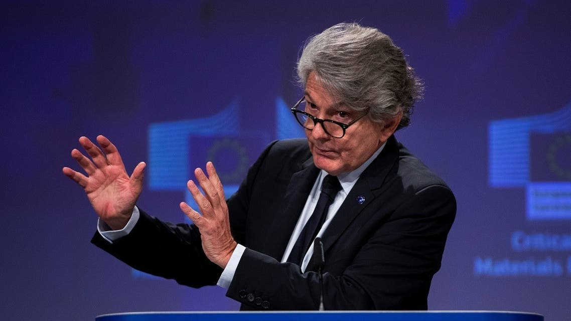 European Union industry commissioner Thierry Breton talks to journalists during an online news conference at the EU headquarters in Brussels, Belgium. (Reuters)