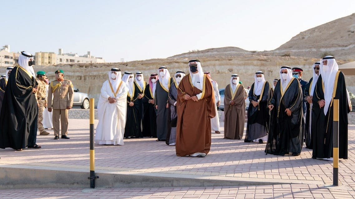 Bahrain's newly appointed Prime Minister and Crown Prince of Bahrain, Prince Salman bin Hamad al-Khalifa attend the funeral procession of Bahrain's Prime Minister Prince Khalifa bin Salman al-Khalifa. (Reuters)