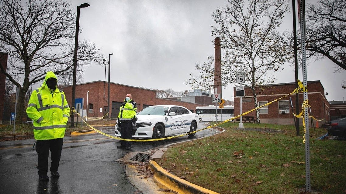 Veterans Affairs Police guard the entrance to a maintenance facility after an apparent steam explosion in a maintenance building at a Veterans Affairs hospital in Connecticut, Nov. 13, 2020. (AP)