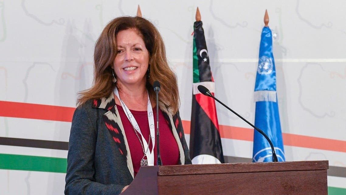 Stephanie Williams, Acting Special Representative of the Secretary-General and Head of the UN Support Mission attends the opening ceremony of the Libya's peace talks in Tunis, Nov. 9, 2020. (AP)