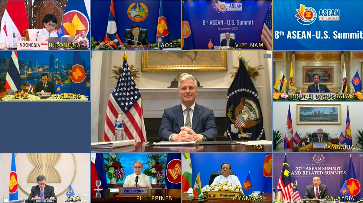 This image made from a teleconference provided by the Vietnam News Agency (VNA) shows US national security adviser Robert O'Brien, center, with leaders of ASEAN during a virtual summit, Nov. 14, 2020. (VNA via AP)