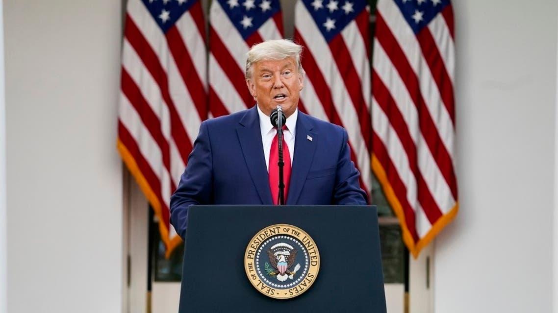 US President Donald Trump speaks in the Rose Garden of the White House, Nov. 13, 2020. (AP)