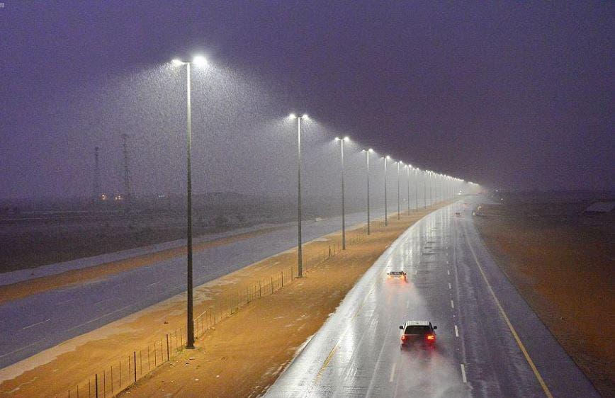Heavy rain is seen in the city of Hail in Saudi Arabia. (SPA)